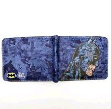 Comic Batman Azul Negro Dos pliegues Dinero Tarjeta Billetera formal para hombres Accesorios