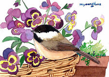 ACEO Limited Edition- Pansy basket, Bird art print, Home deco idea
