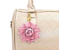 💗 Real Leather Flower Bag Charm Pink Rose Purse Clip Handbag, Key chain Pendant