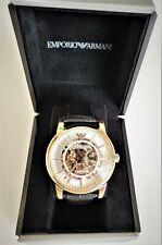 Emporio Armani Mens Watch Meccanico Rose Gold Case Dial White AR 60007 Genuine