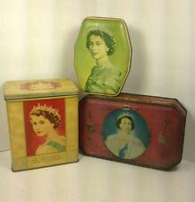3 Vintage Queen Elizabeth Collectable Tins