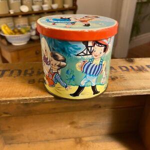 Vintage Blue Bird Confectionary Tin – Children / Animals – Cute!