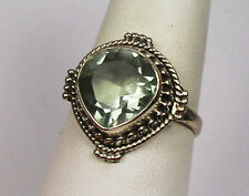 GORGEOUS BRILLIANT GREEN AMETHYST CUSTOM MADE HEART RING STERLING SILVER