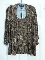Grace Elements Brown & Tan Women's 3/4 Sleeve Knit Tunic Style Top Size XS NWT
