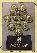 13 El Leone Silver & Lime Green Enamel Face Head Metal Buttons Lot 1417