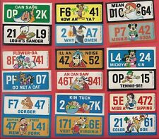 DISNEY LICENSE PLATES 1976 Wonder Bread Complete 25 Sticker Set 50 States NM