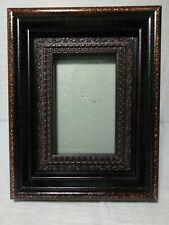 Vtg Arts Crafts Bronze Gilt Carved Faux Wood  Picture Frame 6x9