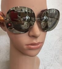 Linda Farrow Large Sunglasses Mirrored Rounded  Chrome Arms And Frame