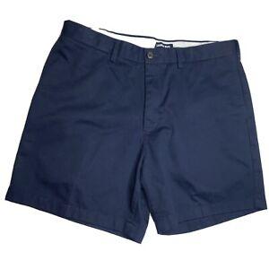 LANDS END Men's Chino Shorts Size 35 Expandable Waist Blue Flat Front EUC