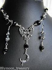 Ethnic style NECKLACE EARRINGS SET MOON GODDESS ONYX gemstone wicca LAST ONE