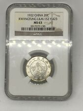 1922 China 🇨🇳 Kwangtung 20-C Cent NGC MS 63 ✨-*SUPERB LUSTER! ✨