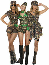 Adult Camo Army Girl Costume Ladies Sexy Soldier Fancy Dress Military Womens