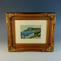 Watercolor of a Mediterranean View Signed