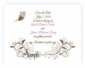 100 Personalized Custom Brown Butterfly Swirl Bridal Wedding Save The Date Cards