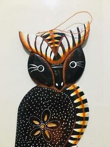 Wooden OWL Carve-Painting Home Decoration Handmade Wall Hanging Sri Lanka