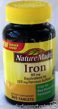 Nature Made Iron 65 mg -  365 Tablets Dietary Supplement Exp Date  Nov 2019