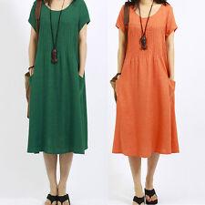 Women Casual Cotton Linen Short Sleeve Crew Neck Calf Length Shirt Dress Plus
