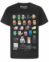 Minecraft T-Shirt Sprites Characters Gamer Gifts Boys Black Short Sleeve Top