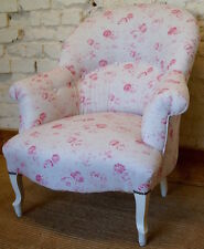 A Vintage French Louis Philippe Tub Chair in PEONY and SAGE 'Charlotte'