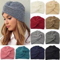 Damen Turban Strickmütze Beanie Kopftuch Wintermütze Kopfbedeckung Warm Mütze