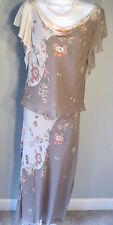 Adrianna Papell 2 pce Dress Silk Flutter Slv Lined Elastic Waist Beads/Sequins 6