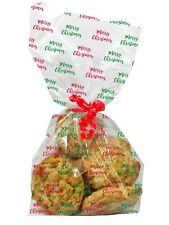 20 x Clear Merry Christmas Cellophane Treat Favour Cookie Bags Home Baking Gifts