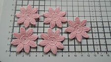 Iron on / sew on, Pink, Guipure Lace ,Applique, Daisy-Flower Motifs x 5 (4cm)