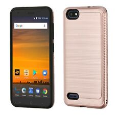 Rose Gold Black Brushed Cover Case + CLEAR SCREEN FILM FOR ZTE Blade X