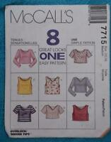 #7715 McCALL'S Sewing PATTERN- Misses TOPS. 8 LOOKS. Size 12-14 AS New