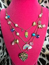 Betsey Johnson Fairyland Pink Glitter Rose Crystal Rainbow Heart Tulip Necklace