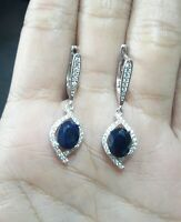 AAA NATURAL SAPPHIRE WHITE CZ -STERLING 925 SILVER  EARRING