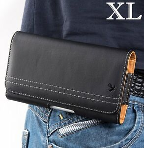 for XL LARGE Phones - BLACK Leather PU Pouch Holder Belt Clip Loop Holster Case