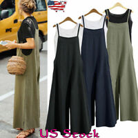 Women Sleeveless Cotton Linen Loose Wide Leg Jumpsuit Overall Long Trousers Pant