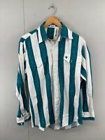 Karman Vintage Men's Long Sleeve Button Up Western Shirt Size M Green White