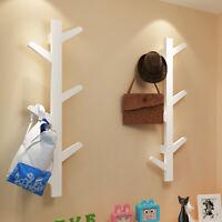 Wooden Wall Mounted Hook Peg Coat Branch Hanger Rack Towel Hanging Storage Hooks