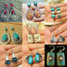 Vintage Boho 925 Silver Turquoise Gemstone Drop Dangle Hooks Earrings Wholesale