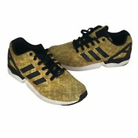 Adidas Originals Mens 8.5 ZX Flux Gold/White/Black Low Top Sneakers Lace Up