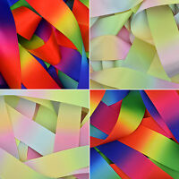 Double Sided Rainbow/Pastel Satin & Grosgrain Ribbon 6 10 15 25mm 38mm 50mm 75mm
