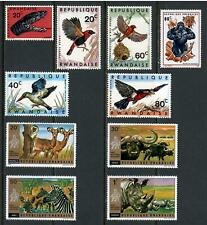 10 Wildlife Rwanda Unused Stamps , F-VF OG HR - I Combine S/H