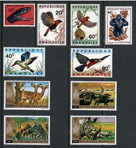 10 Wildlife Rwanda Unused Stamps , F-VF OG HR - I Combine S/H