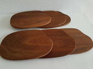6x Teak Holz Bretter Frühstücksbretter Schneidebrett