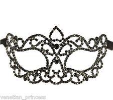 Black Swarovski Masquerade Mask Venetian Laser Cut Mask Wedding Prom CM002BK NEW