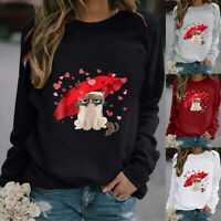 Womens Animal Printed Long Sleeve Tops Casual T-shirt Blouse Pullover Plus Size