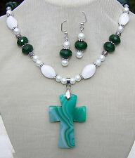 STRIPED AGATE CROSS STONE NECKLACE EARRING~SET~ green quartz white handmade