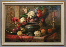 Framed Oil Painting of Still Life Candle by Flowers and Fruit in Container 24x36
