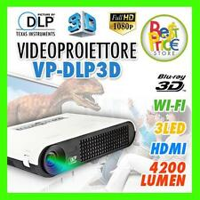 PROIETTORE A DLP 4200 LUMEN LED 3D FULL HD HDMI USB SD CARD VGA PC RCA VP-DLP