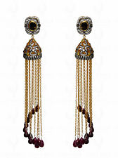 SMOKEY & TOPAZ STUDDED EARRING WITH RUBY KNOTTED SILVER CHAIN TASSEL SE031061