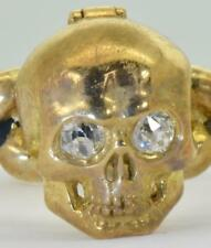 Rare Georgian 18k gold,enamel&diamonds Poison Memento Mori Skull ring.15g heavy!
