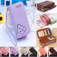 New Beautiful Universal Cute Bear Zipper Leather Handbag Wallet Phone Case Cover