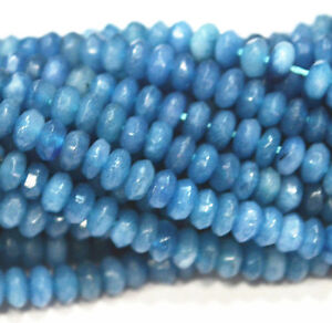 """New 2x4mm Faceted Brazilian Aquamarine Abacus Gems Loose Beads 15"""" AA"""